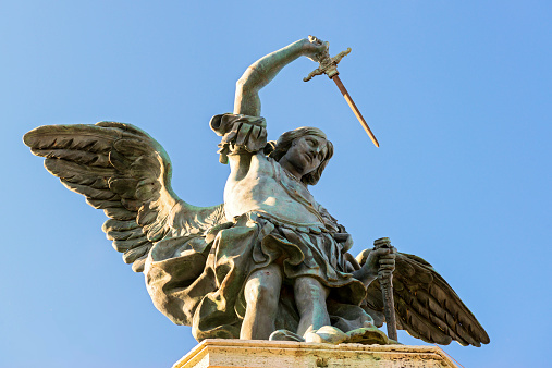 Saint Michael statue at top of Castel Sant`Angelo in Rome