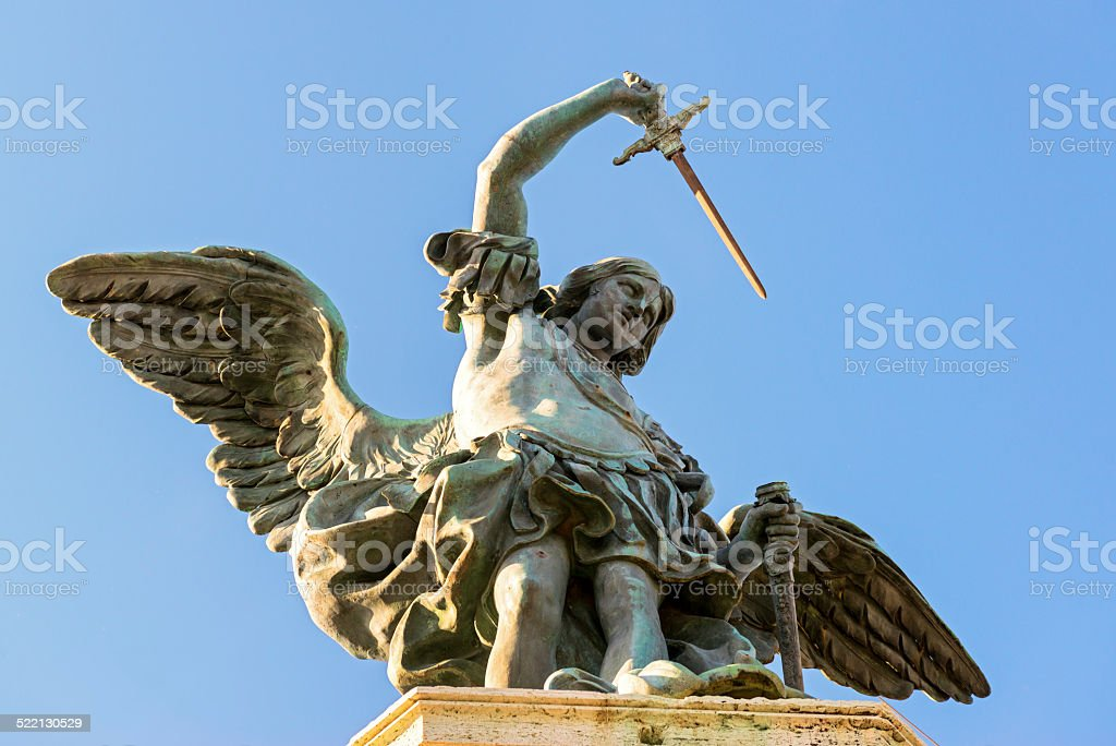 Saint Michael statue at top of Castel Sant`Angelo in Rome stock photo