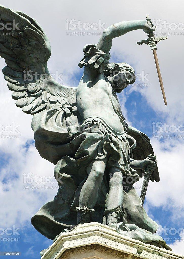 Saint Michael statue at top of Castel Sant'Angelo, Rome stock photo