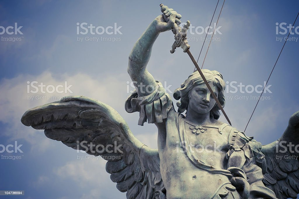 Saint Michael statue of Castel Sant`Angelo stock photo
