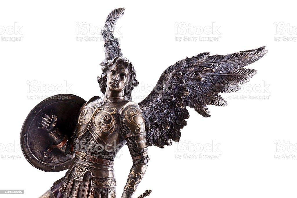 Saint Michael statue stock photo