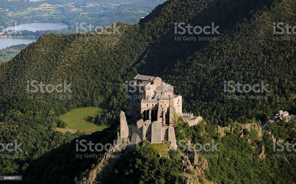 Saint Michael's Abbey, Sacra di San Michele, aerial view, Piedmont royalty-free stock photo