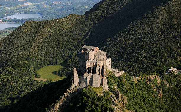 Saint Michael's Abbey, Sacra di San Michele, aerial view, Piedmont stock photo