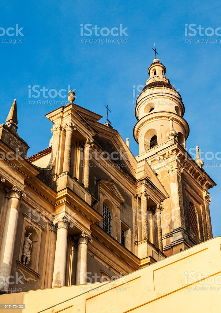 Saint Michel Basilica in Menton stock photo