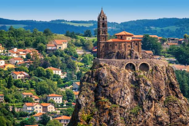 Saint Michel d'Aiguilhe Chapel in Le Puy en Velay, France stock photo
