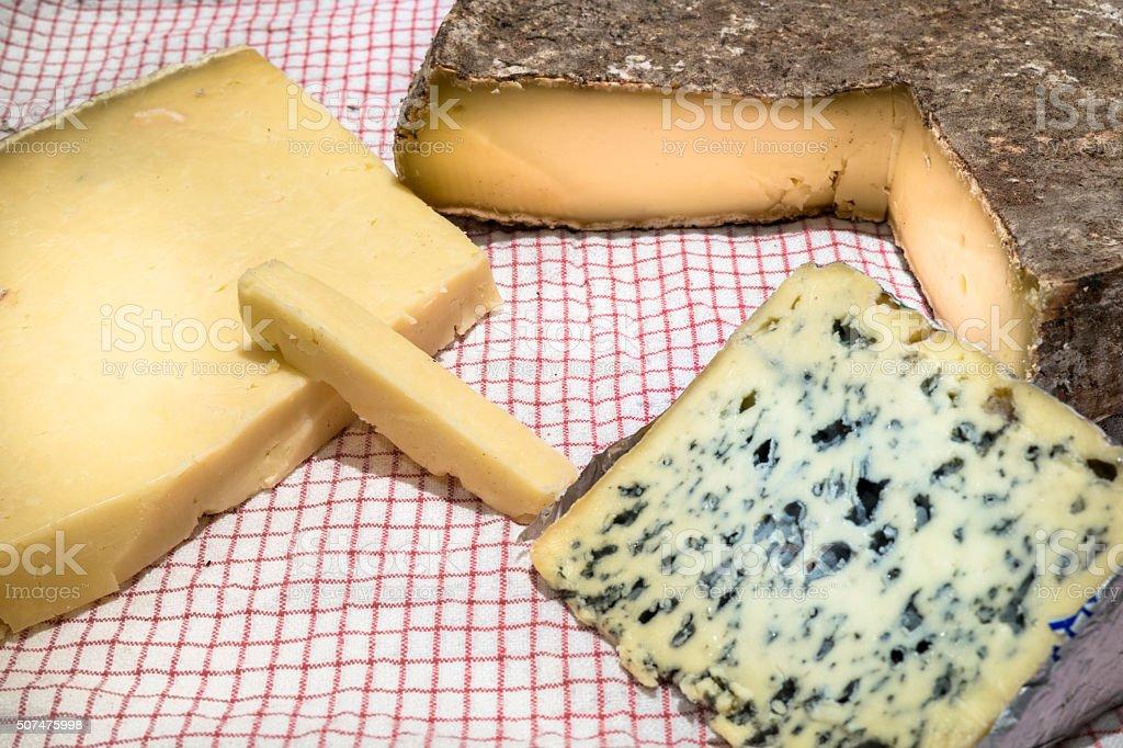 Saint Nectaire, salers et bleu d'auvergne stock photo