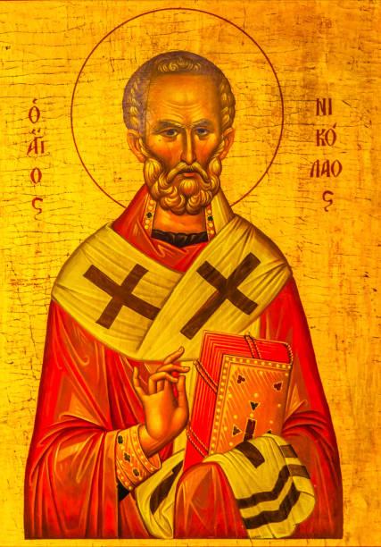 saint nichlolas golden icône saint george populaire église madaba en jordanie - saint nicolas photos et images de collection