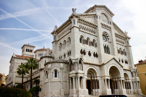 Saint Nicholas Cathedral in Monaco White stone catholic church in Europe ville stock pictures, royalty-free photos & images