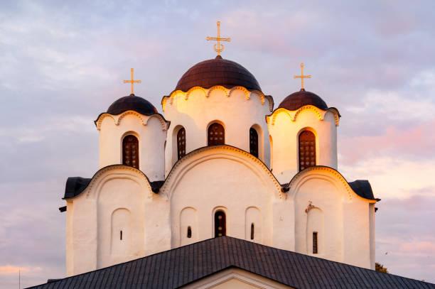 sankt nikolaus kathedrale von weliki nowgorod - russisch orthodoxe kirche stock-fotos und bilder