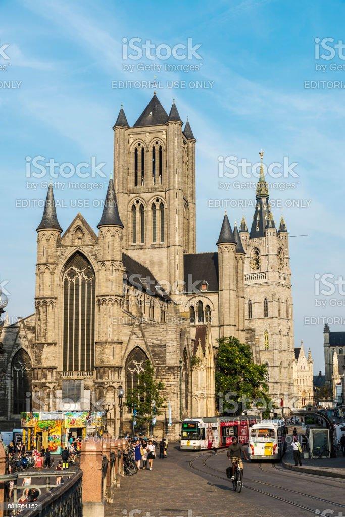 Saint Nicholas Church and Belfry in Ghent, Belgium stock photo
