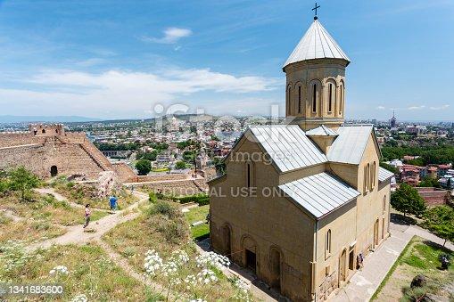 istock Saint Nicholas church in Narikala fortress and panoramic view of Tbilisi, Georgia, Europe 1341683600
