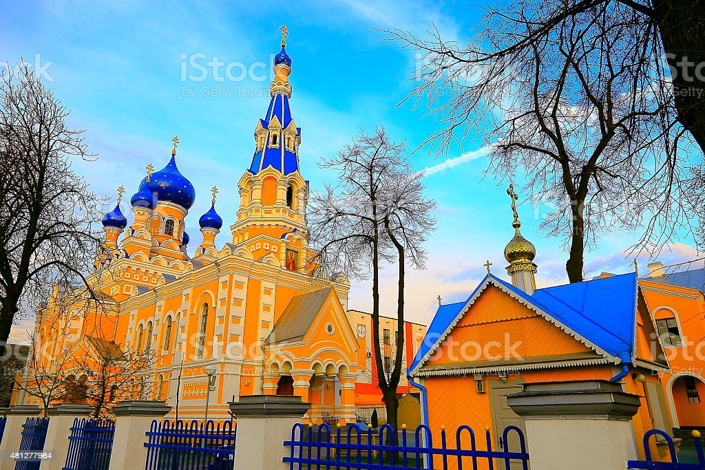 Saint Nicholas Russischorthodoxe Kirche Bei Sonnenuntergang In Brest ...