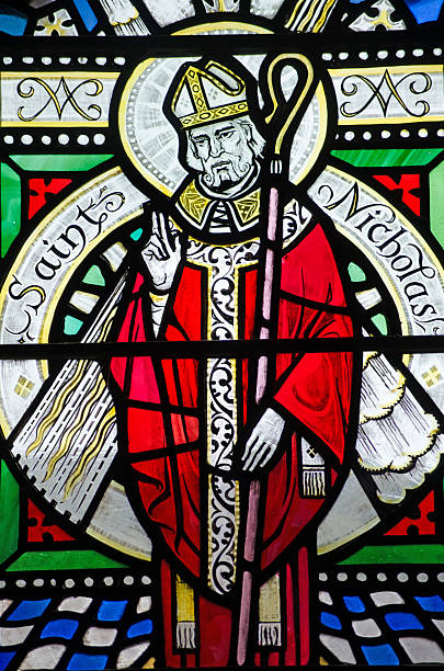 Saint Nicholas Stained Glass Window stock photo