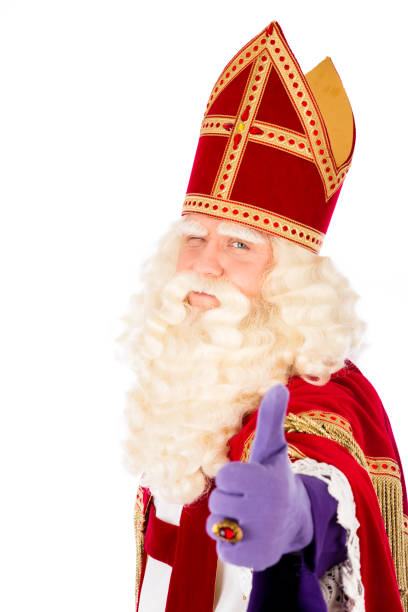 Saint Nicholas thumbs up. OK sign Dutch saint Nicholas portrait. Thumbs up. isolated on white background. Dutch character of Santa Claus sinterklaas stock pictures, royalty-free photos & images