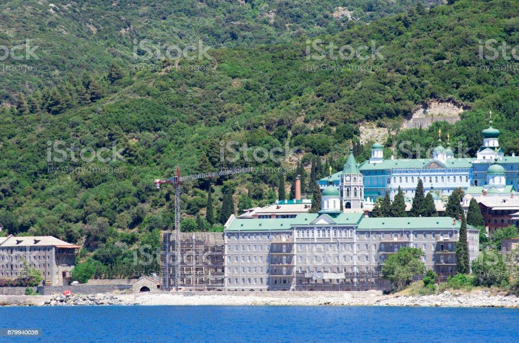 Saint Panteleimon Monastery, Athos Peninsula, Mount Athos, Chalkidiki, Greece stock photo