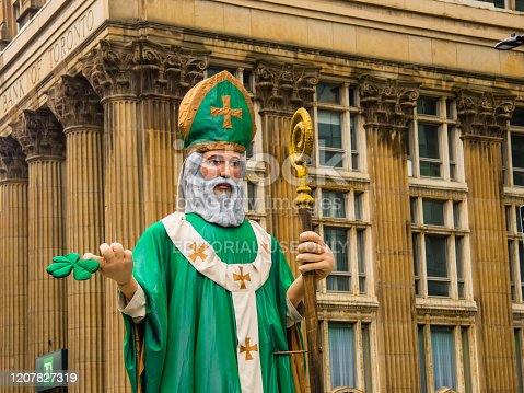 Saint Patrick Statue in the Saint Patrick`s Day Parade in Montreal downtown