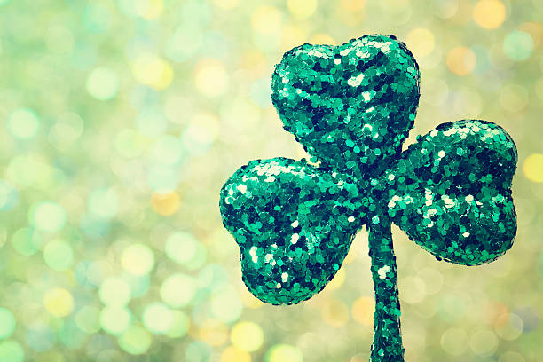 saint patricks day green clover ornament - st patricks days stock photos and pictures