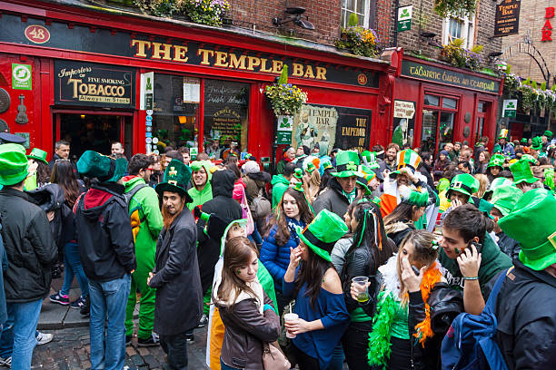 Dublin, Ireland - MARCH 17: Saint Patrick's Day parade stock photo