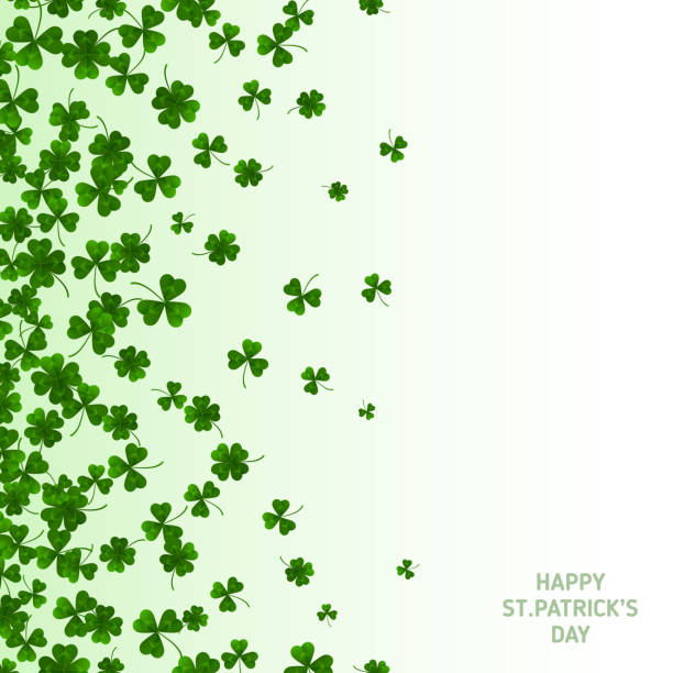 saint patrick's day vertical banner with clovers - st patricks day background stock photos and pictures