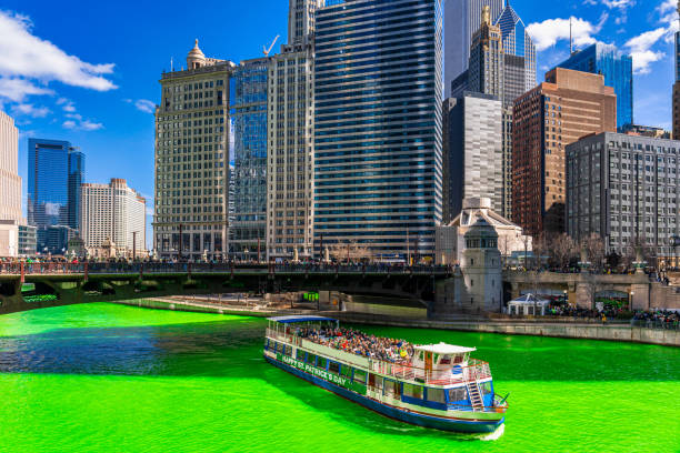 Saint Patrick's day with green color river in Chicago