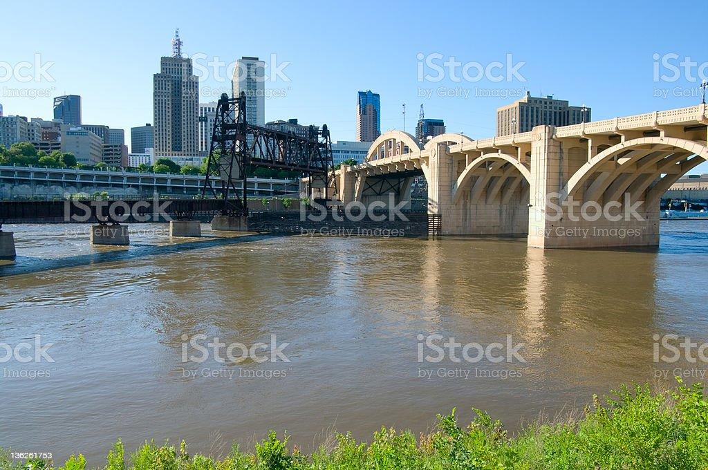 Saint Paul Bridges and Skyline royalty-free stock photo