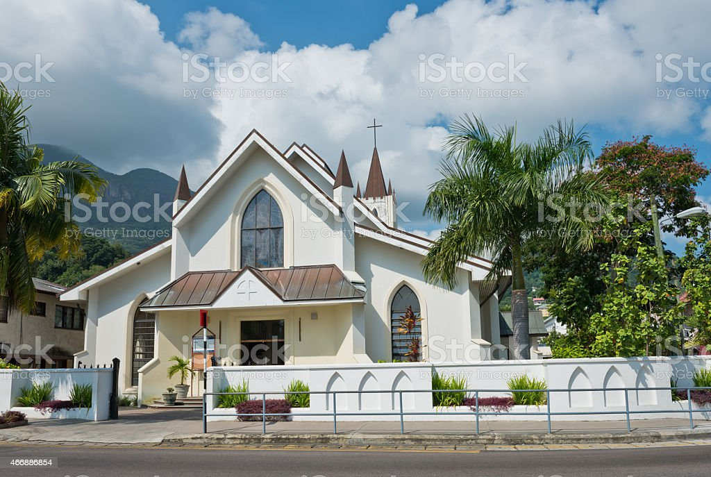 Saint Paul Cathedral in Victoria, Mahe island, Seychelles stock photo
