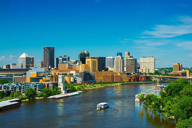 Saint Paul, MN skyline and river stock photo