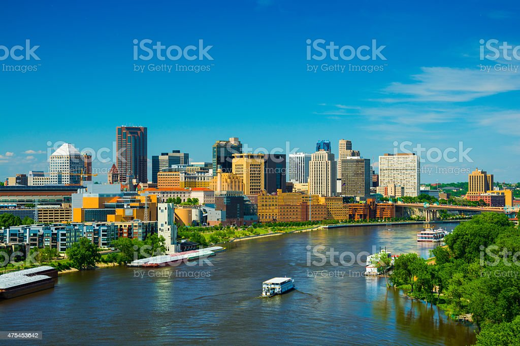 Saint Paul, MN skyline and river stock photo