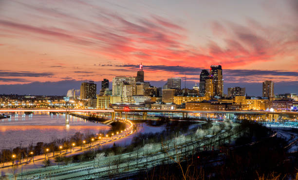 Saint Paul, MN Skyline at  Dusk Saint Paul, Minnesota - Skyline at Dusk - City Lights minnesota stock pictures, royalty-free photos & images