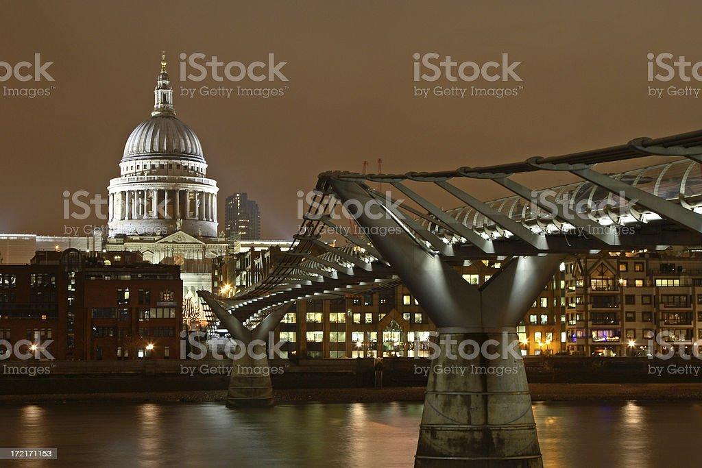Saint Paul's Cathedral and The Millennium Bridge, London stock photo