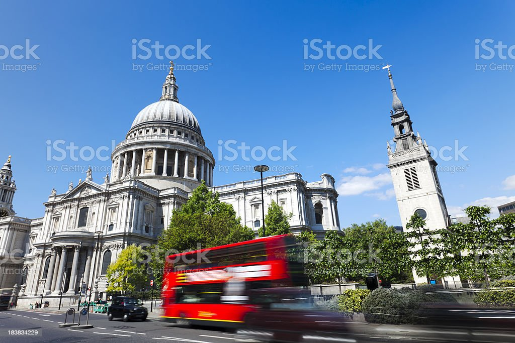 Saint Paul's Cathedral and traffic in London royalty-free stock photo