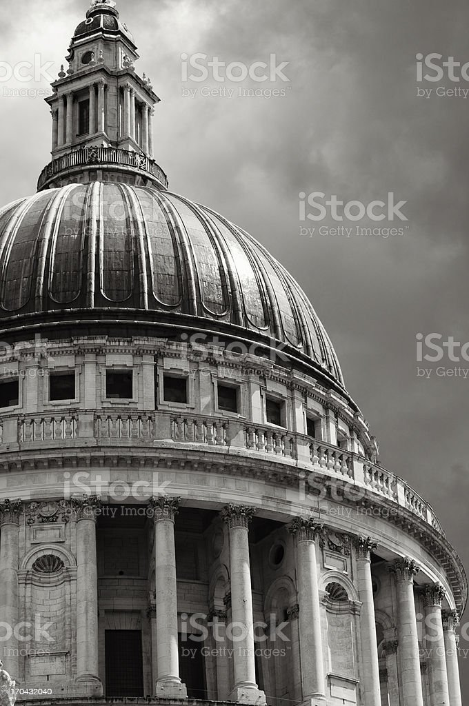 Saint Paul's Cathedral Dramatic Sky Black and White stock photo