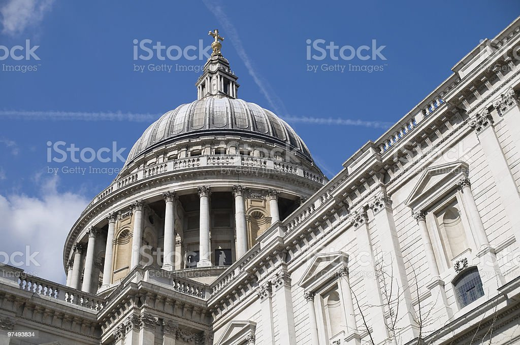 Saint Pauls cathedral seen from street perspective royalty-free stock photo