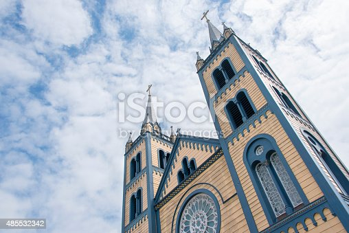 The wooden Saint Peter and Paul Cathedral in Paramaribo, totally made out of wood. Looking up to the bell towers that stand out against the sky.