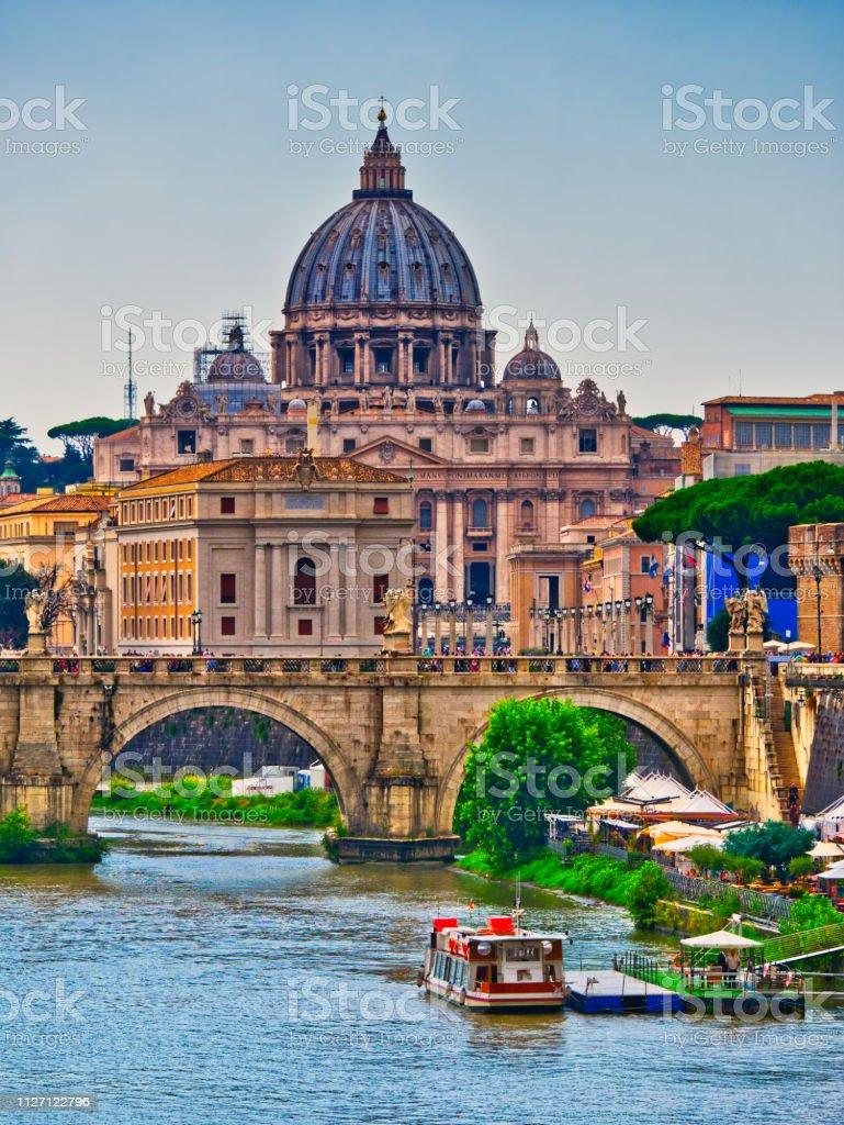 Saint Peter Basilica Tiber river Rome Italy stock photo
