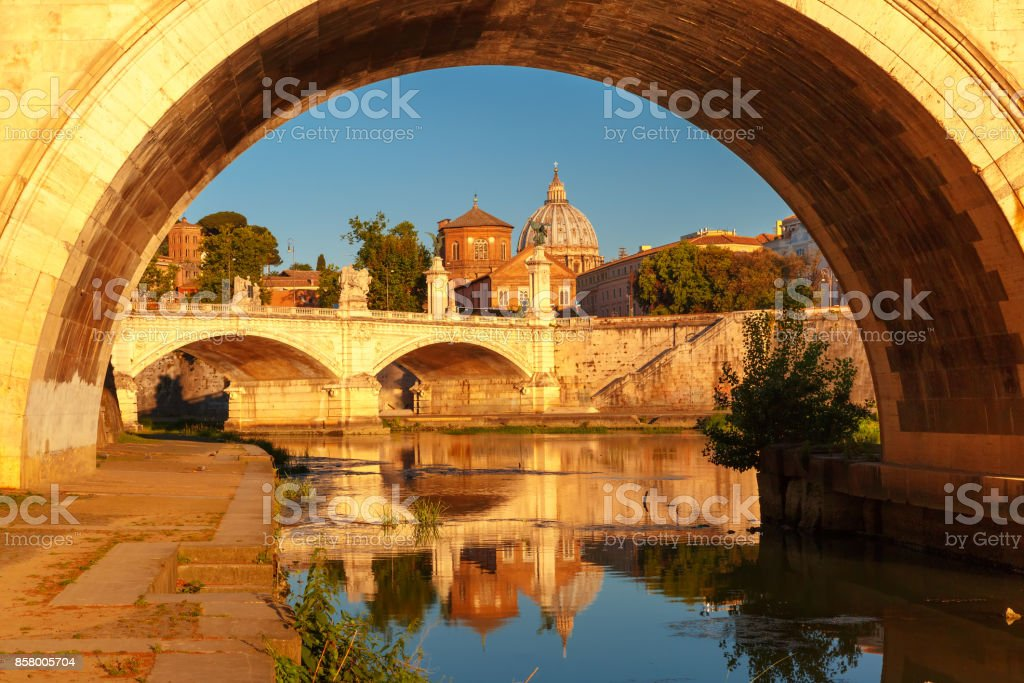 Saint Peter Cathedral in the morning, Rome, Italy stock photo