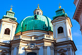 Saint Peter Catholic Church in Vienna . Cathedral with cyan cupola