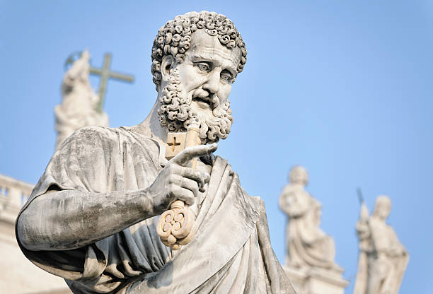 saint peter holding a key - peter the apostle stock photos and pictures