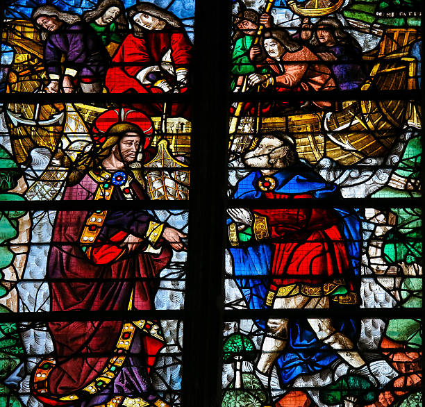 saint peter is called by jesus - stained glass - peter the apostle stock photos and pictures