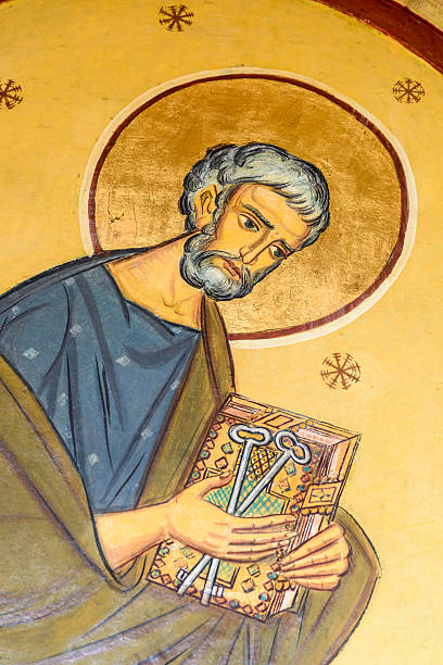 saint peter painting - peter the apostle stock photos and pictures