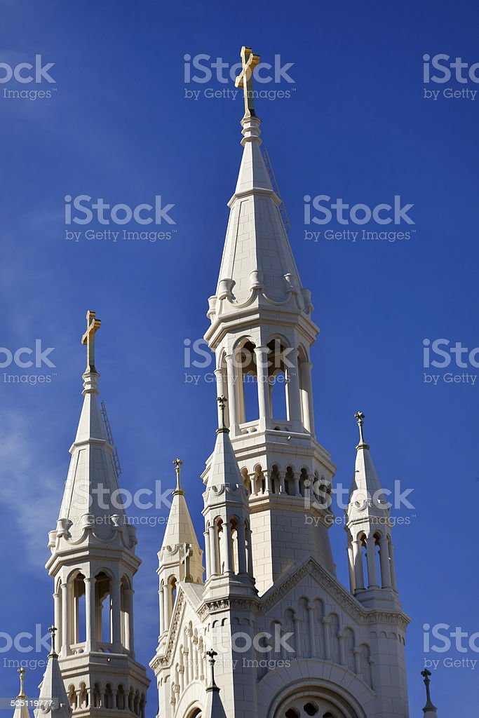 Saint Peter Paul Catholic Church Steeples San Francisco Californ stock photo
