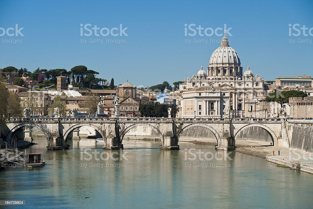 Saint Peter seen from the Tiber royalty-free stock photo