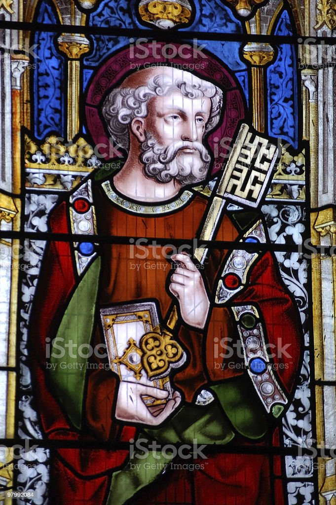 Saint Peter stained glass window royalty-free stock photo
