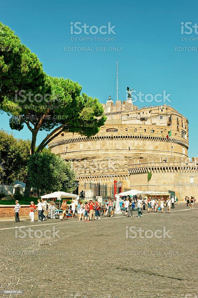Saint Peters Basilica Dome and Ponte Sant Angelo Bridge stock photo