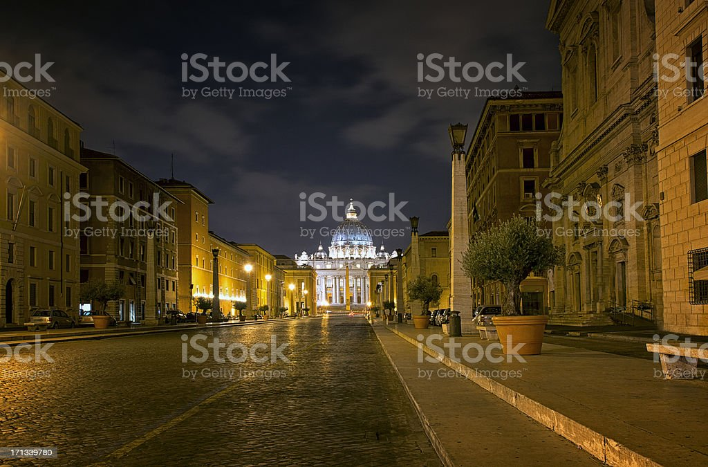 Saint Peter's Basilica in Vatican City at Night, Rome royalty-free stock photo