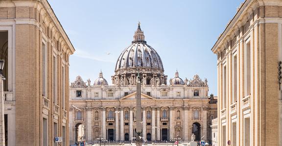 Saint Peter's Basilica, main facade and dome. Vatican City.