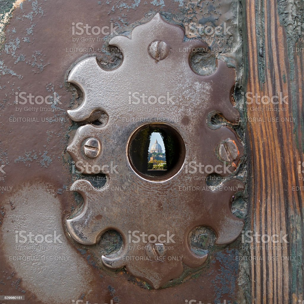 Saint Peter's Basilica seen through a keyhole, Rome Italy stock photo