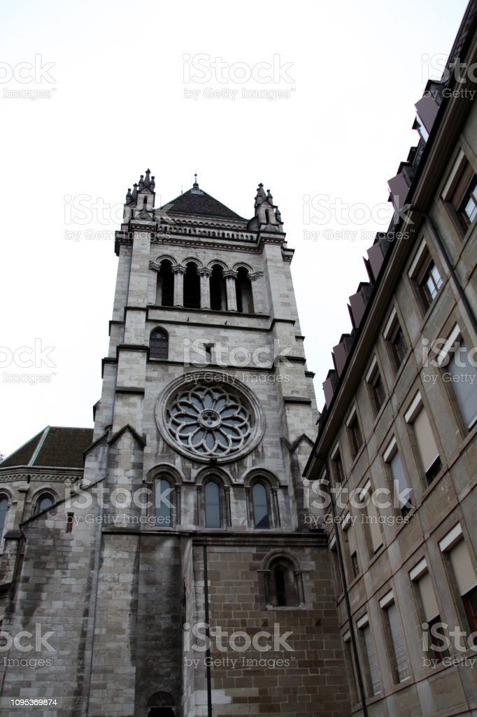 Saint Peter's Cathedral in Geneva stock photo