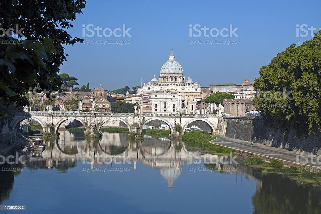 Saint Peters church from Tiber River, Rome Italy royalty-free stock photo