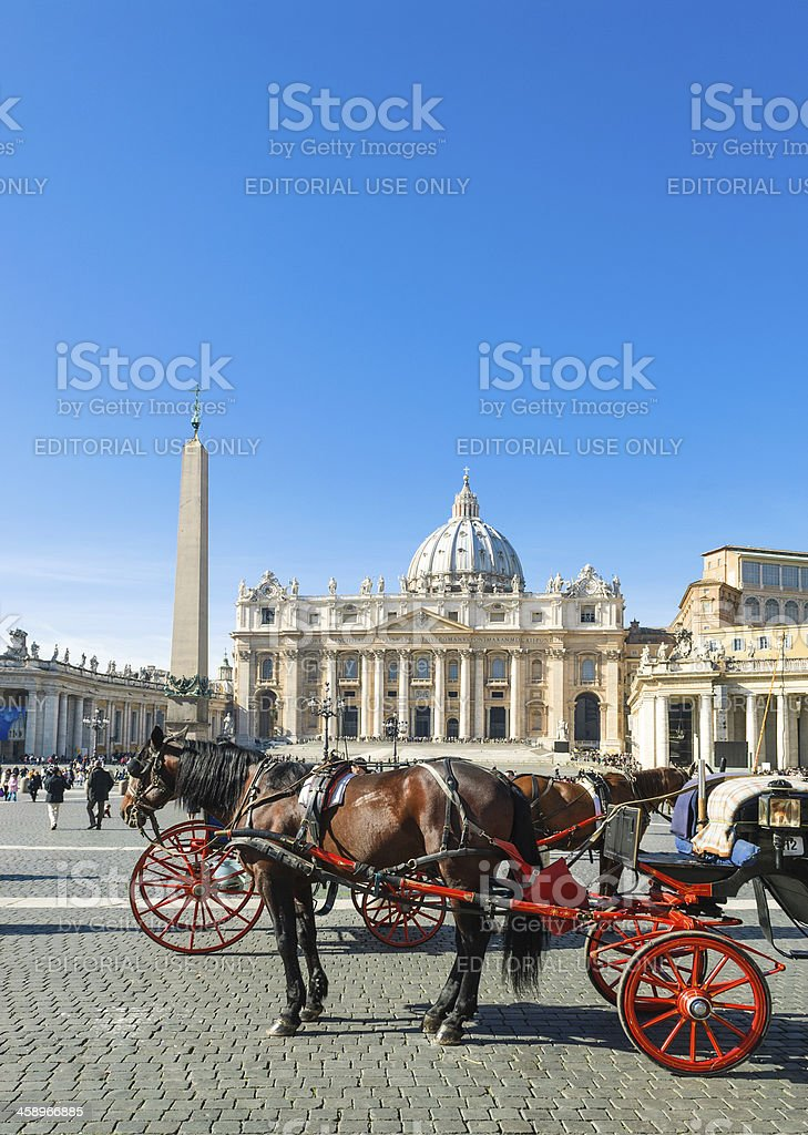 Saint Peter's Square and Basilica in Vatican City royalty-free stock photo